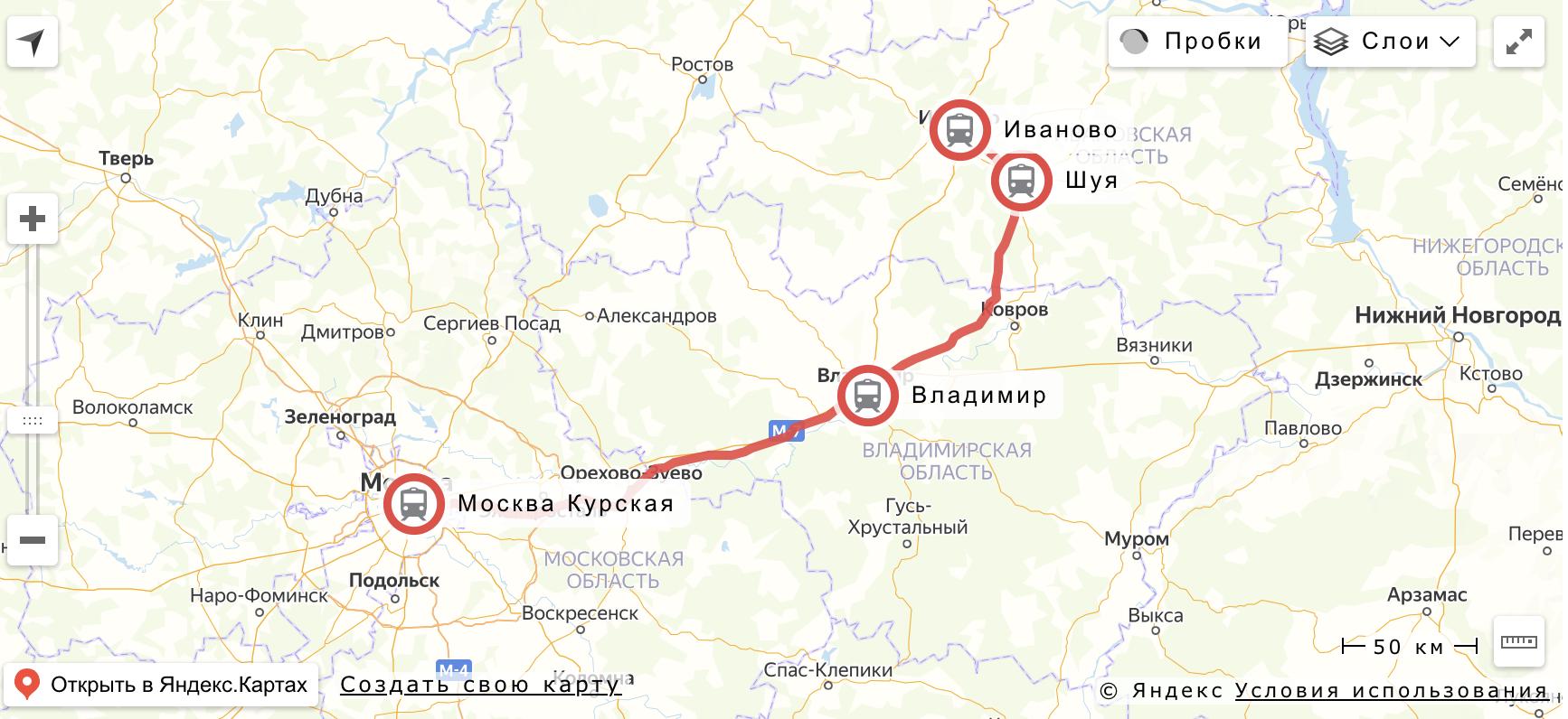 """Маршрут поезда """"Ласточка"""" Москва - Иваново"""