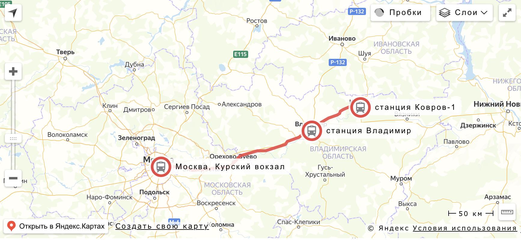 """Маршрут поезда """"Ласточка"""" Москва - Ковров"""