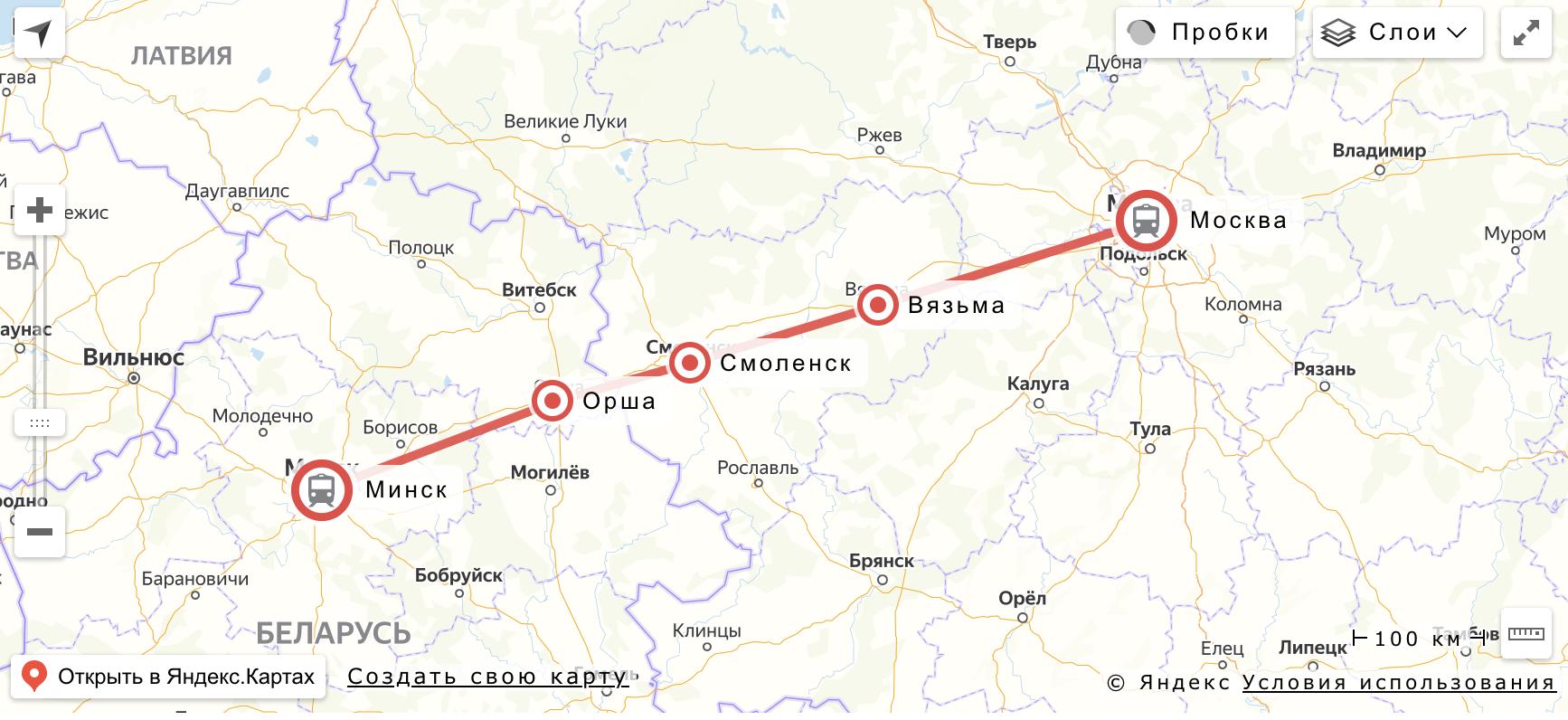 """Маршрут поезда """"Ласточка"""" Москва - Минск"""
