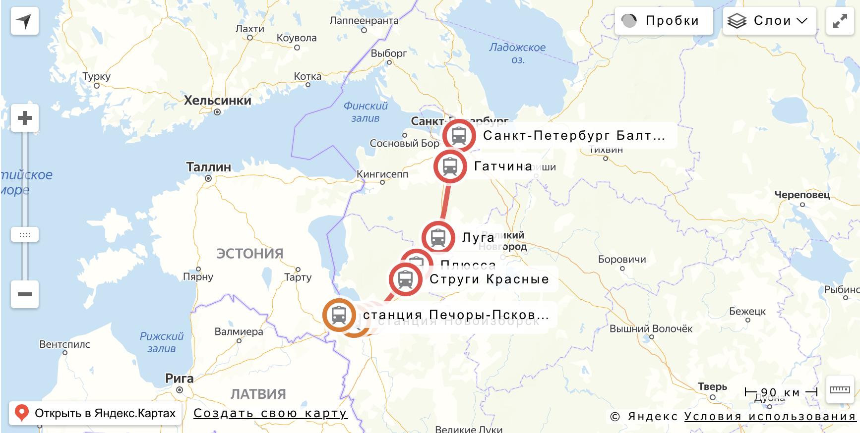 "Маршрут поезда ""Ласточка"" Санкт-Петербург - Печоры"